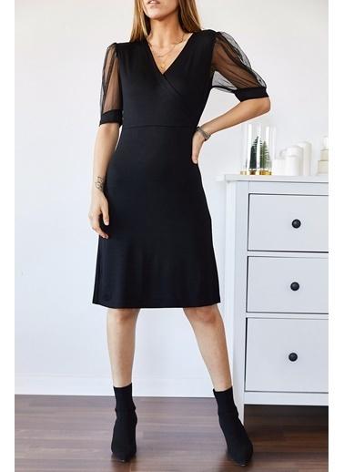 XHAN Kolu Tüllü Kruvaze Elbise 9Kxk6-43335-02 Siyah